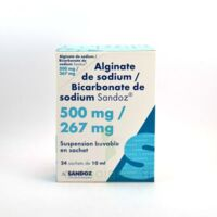 ALGINATE DE SODIUM/BICARBONATE DE SODIUM SANDOZ 500 mg/267 mg, suspension buvable en sachet à Cenon