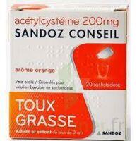 ACETYLCYSTEINE SANDOZ CONSEIL 200 mg Glé solution buvable en sachet-dose 20Sach/1g à Cenon
